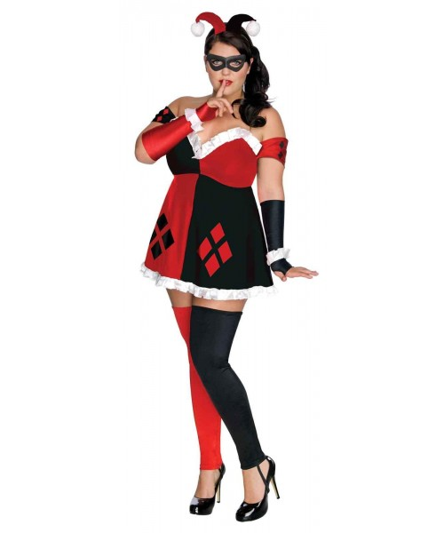 DC Comics Super Villains Adult Harley Quinn Womens Plus Size Costume