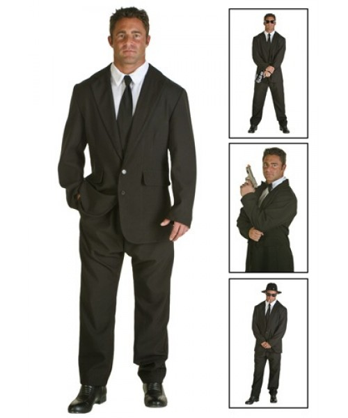 Mens Black Suit Plus Size Costume