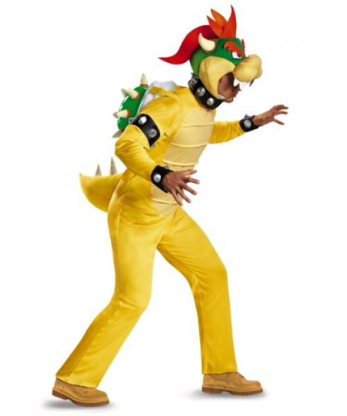 Mens Deluxe Bowser Super Mario Bros Plus Size Costume
