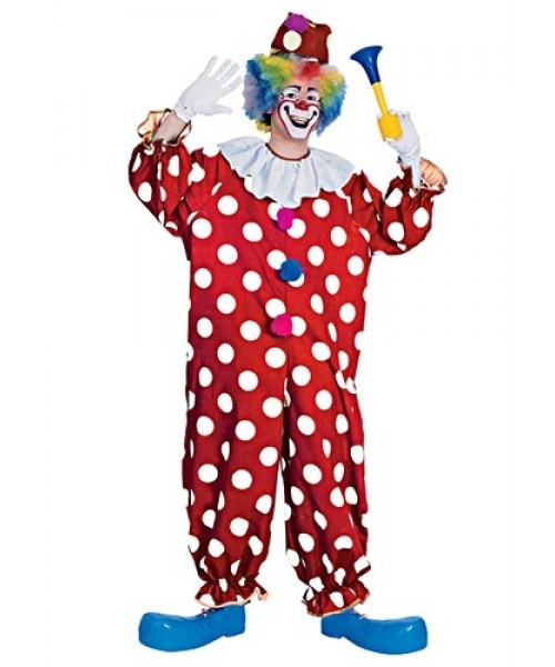 Mens Dotted Clown Plus Size Costume