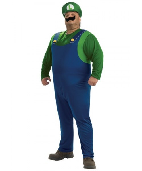 Mens Luigi Plus Size Costume