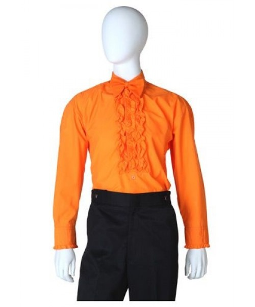 Mens Orange Ruffled Tuxedo Shirt Plus Size Costume