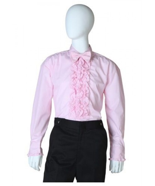 Mens Pink Ruffled Tuxedo Shirt Plus Size Costume