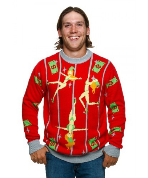 Mens Pole Dancing Elves Ugly Christmas Sweater Plus Size Costume