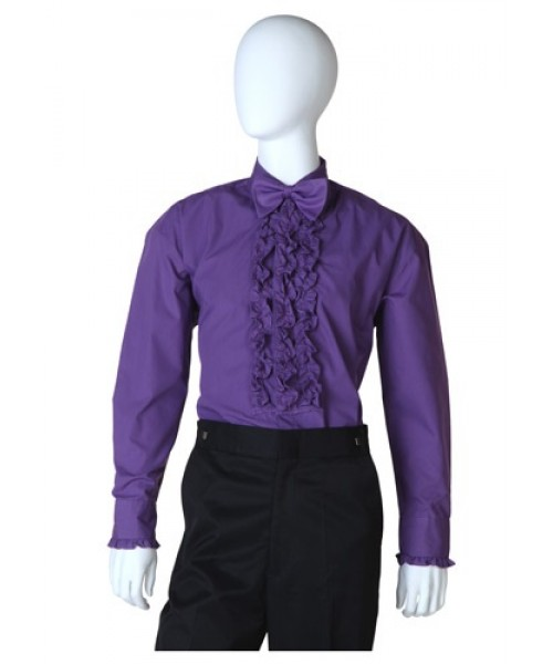 Mens Purple Ruffled Tuxedo Shirt Plus Size Costume