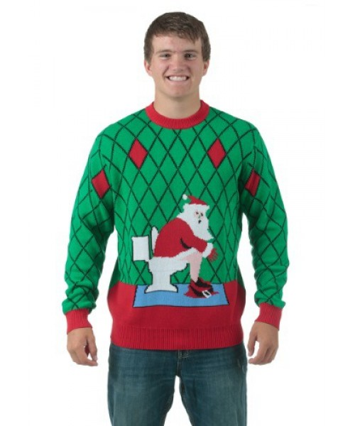 Mens Toilet Santa Ugly Christmas Sweater Plus Size Costume
