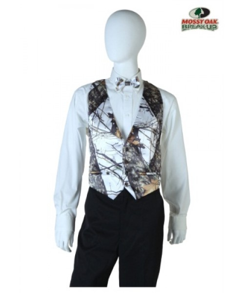Mens White Mossy Oak Open Back Vest Plus Size Costume