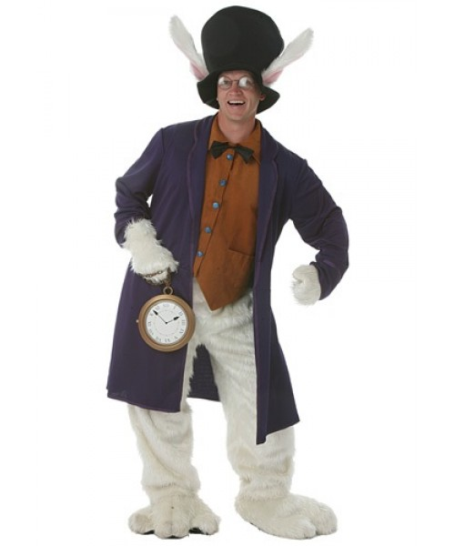Mens White Rabbit Plus Size Costume
