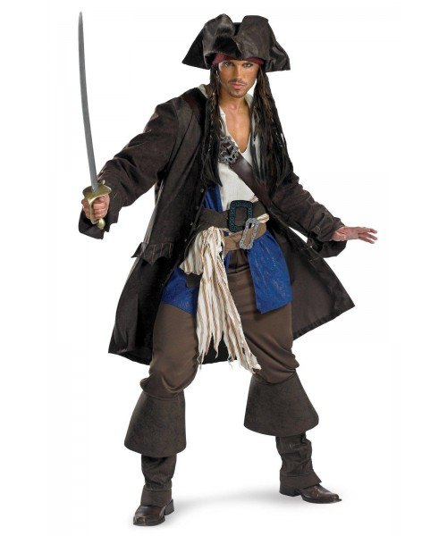 Pirates of the Caribbean Captain Jack Sparrow Prestige Mens Plus Size Costume