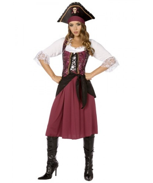 Womens Burgundy Pirate Wench Plus Size Costume