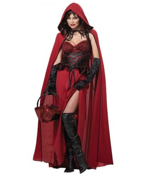 Womens Dark Red Riding Hood Plus Size Costume
