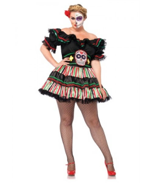 Womens Day of the Dead Doll Plus Size Costume