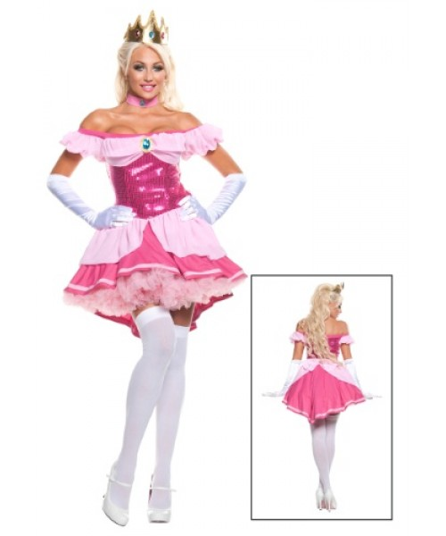 Womens Exclusive Sexy Sequin Pink Princess Plus Size Costume