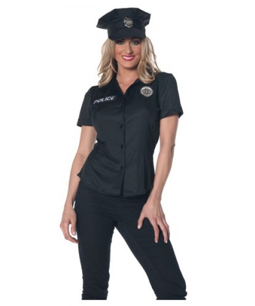 Womens Female Police Shirt Plus Size Costume