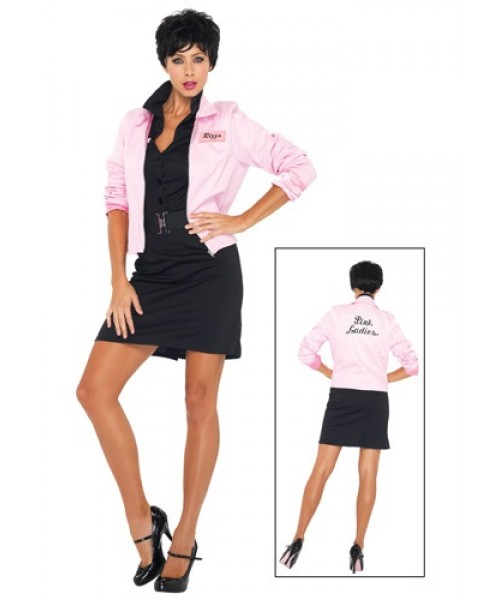 Womens Grease Pink Ladies Jacket Plus Size Costume