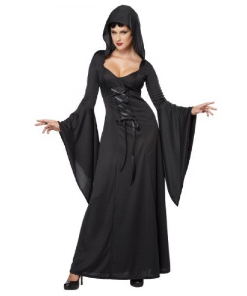 Womens Hooded Black Sexy Lace Up Robe Plus Size Costume