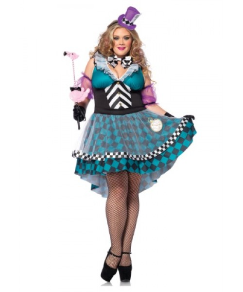 Womens Manic Mad Hatter Plus Size Costume