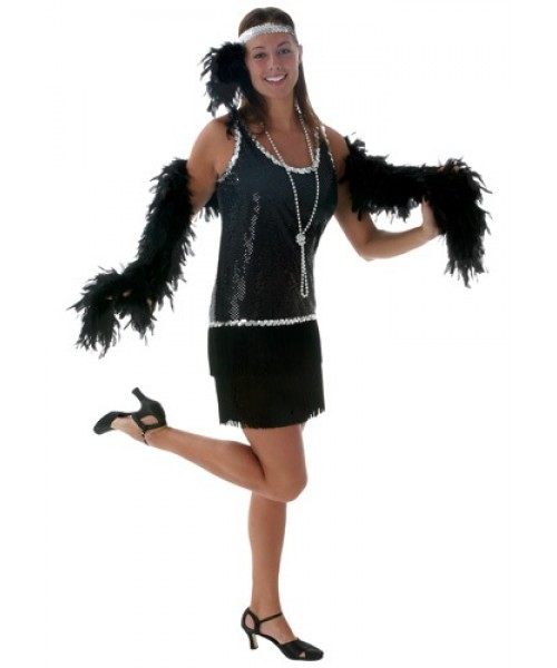 Womens Sexy Black Sequin & Fringe Flapper Plus Size Costume