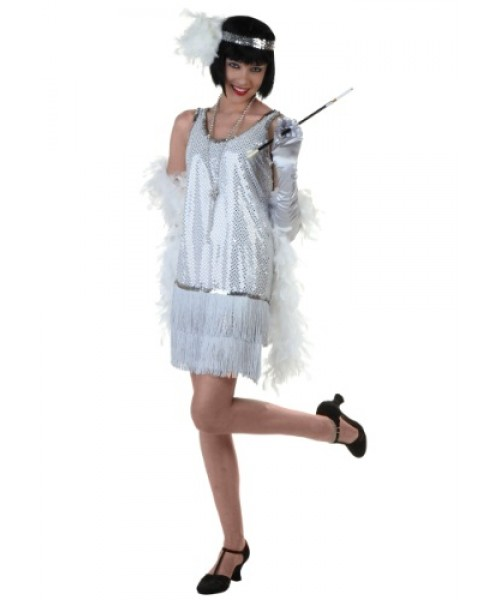 Womens Silver Flapper Dress Plus Size Costume