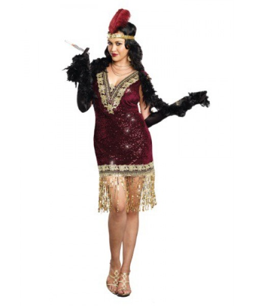 Womens Sophisticated Lady Flapper Dress Plus Size Costume