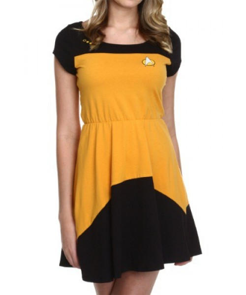 Womens Star Trek Starfleet Gold Skater Dress Plus Size Costume