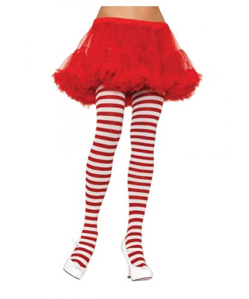 Womens White and Red Striped Tights Plus Size Costume