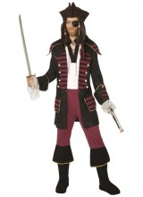 Mens Burgundy Pirate Plus Size Costume
