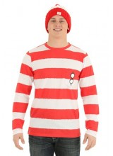 Mens Where's Waldo Long Sleeve I am Waldo Shirt Plus Size Costume