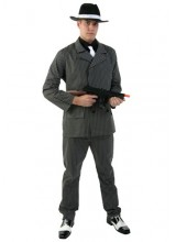 Mens Wide Stripe Gangster Plus Size Costume
