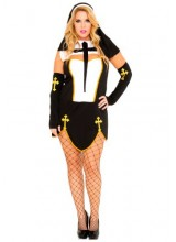 Womens Female Bad Habit Nun Plus Size Costume