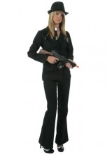 Womens Female Black Gangster Plus Size Costume