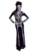 Womens Female Bone Appetit Skeleton Long Dress Plus Size Costume