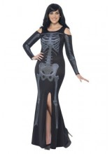 Womens Female Curves Skeleton Dress Plus Size Costume
