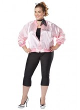 Womens Pink Satin Ladies Jacket Plus Size Costume