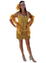 Womens Sequin & Fringe Gold Flapper  Size Plus Size Costume