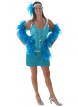 Womens Sequin & Fringe Turquoise Flapper Plus Size Costume