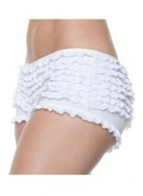 Womens White Ruffle Boy Shorts Plus Size Costume