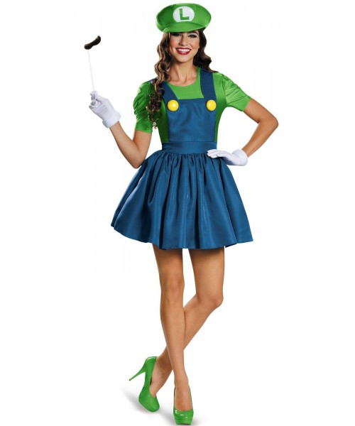 Super Mario Luigi With Skirt Womens Plus Size Costume
