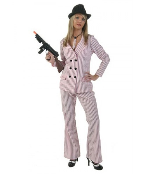 Womens Pink Gangster Moll Plus Size Costume