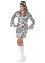 Womens Disco Diva Dress Plus Size Costume