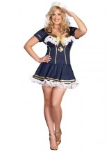 Womens Navy Pin Up Sailor Plus Size Costume