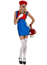 Womens Sexy Red Plumber Plus Size Costume